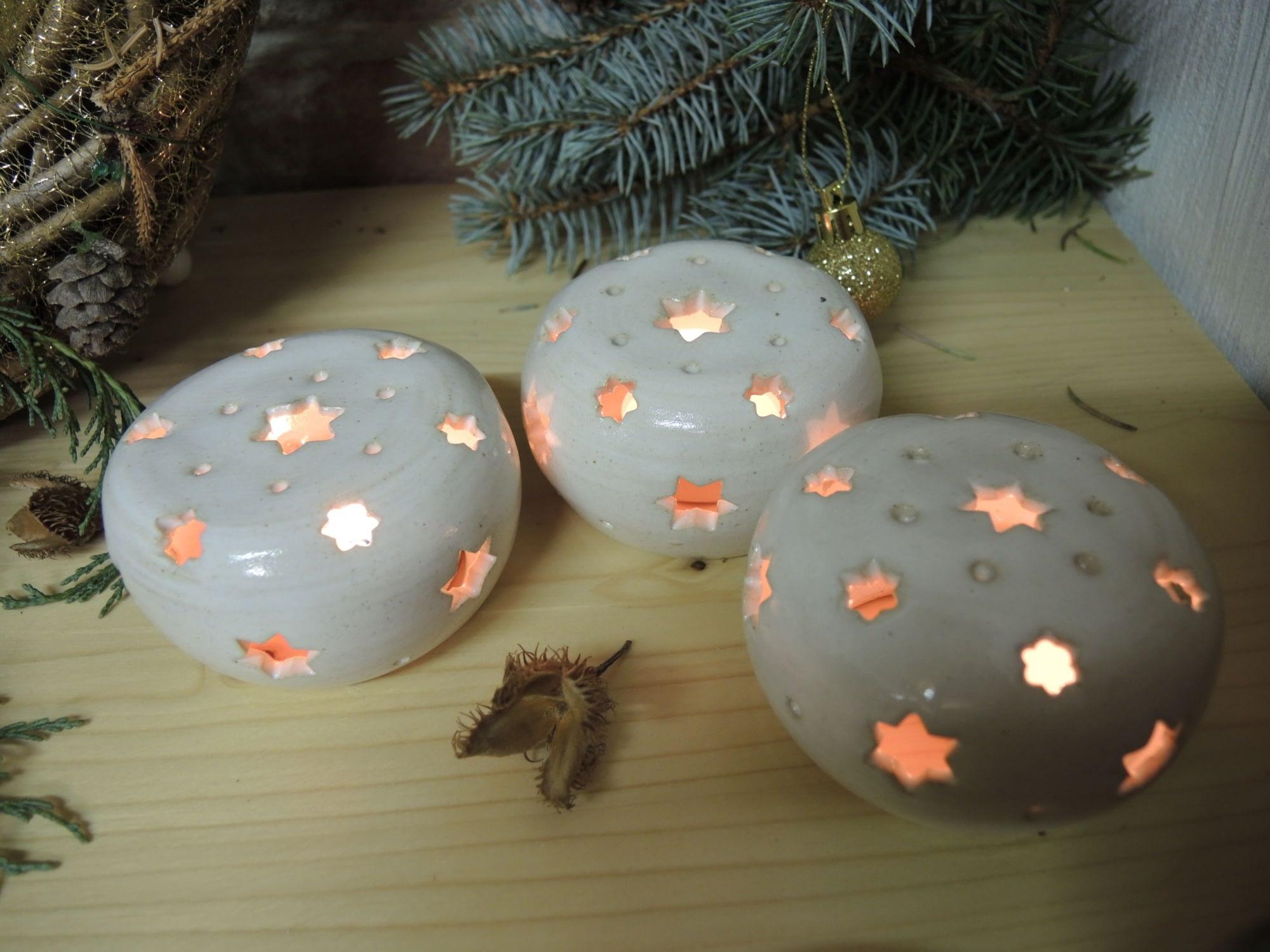 lampa lampička koule bílá hvězda světlo vánoce keramika keramikaandee dekorace