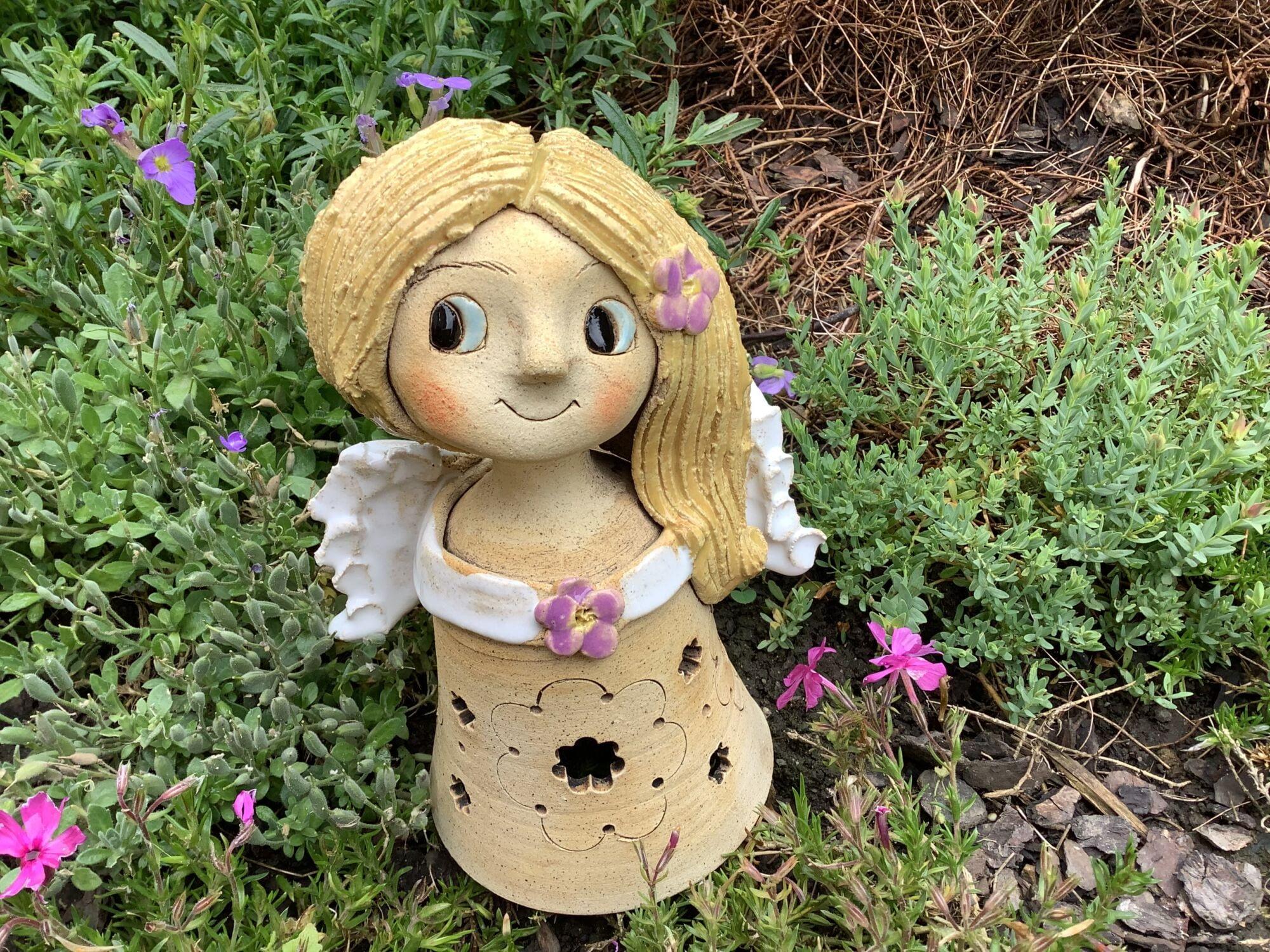 Lampicka andelka květ dekorace víla keramika světlo svíčka keramikaandee