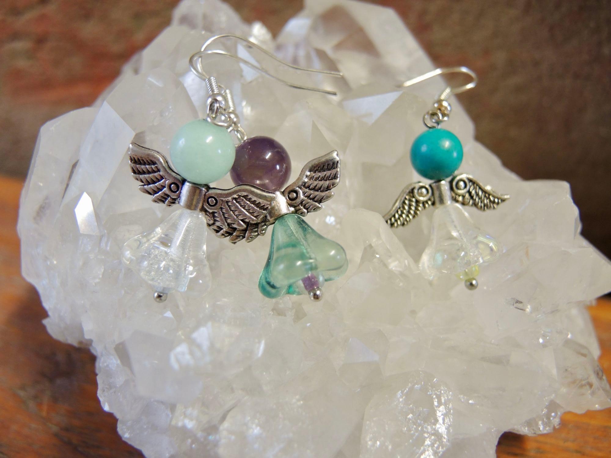 andělské náušnice anděl kameny šperky andee ametyst kameny polodrahokam