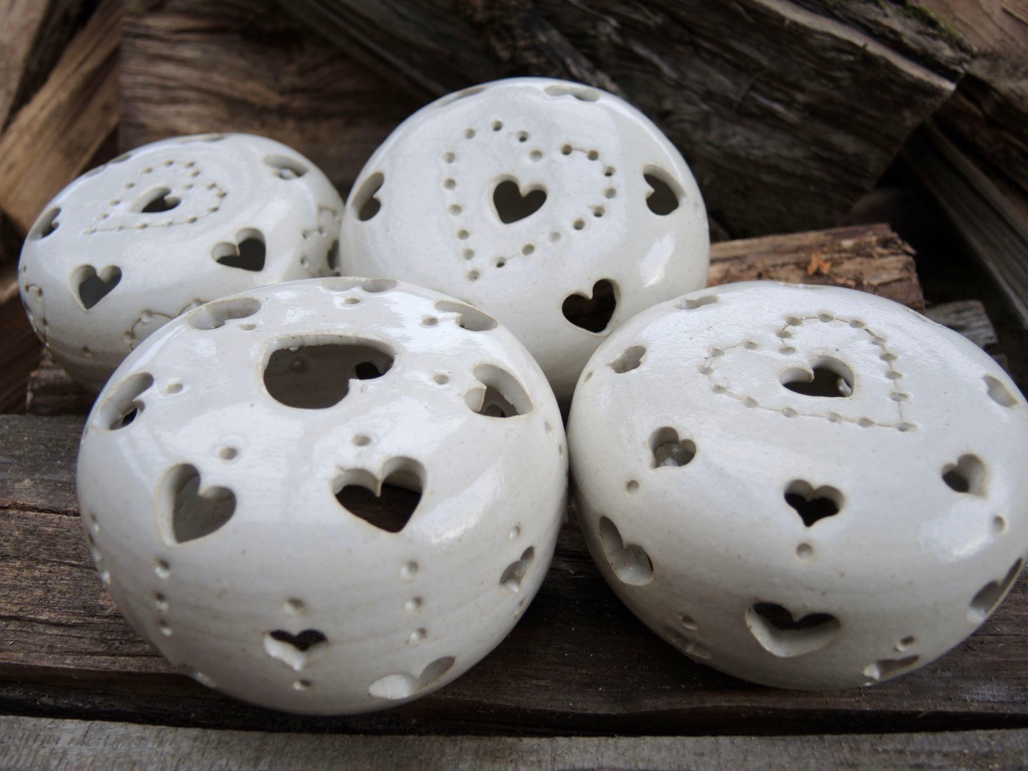 lampa koule bílá srdce světlo vánoce keramika keramikaandee dekorace