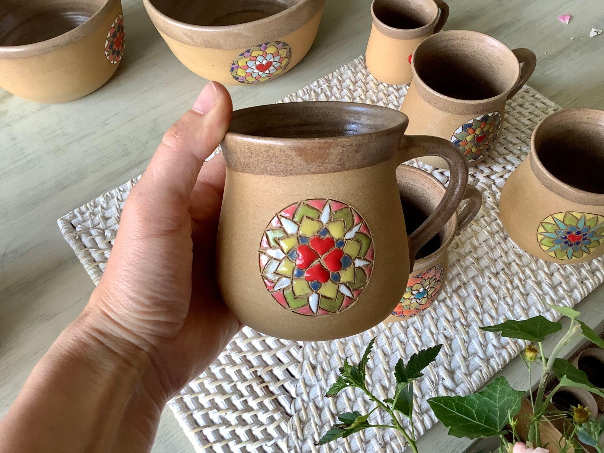 hrnek mandala na čaj velký keramika keramikaandee srdce
