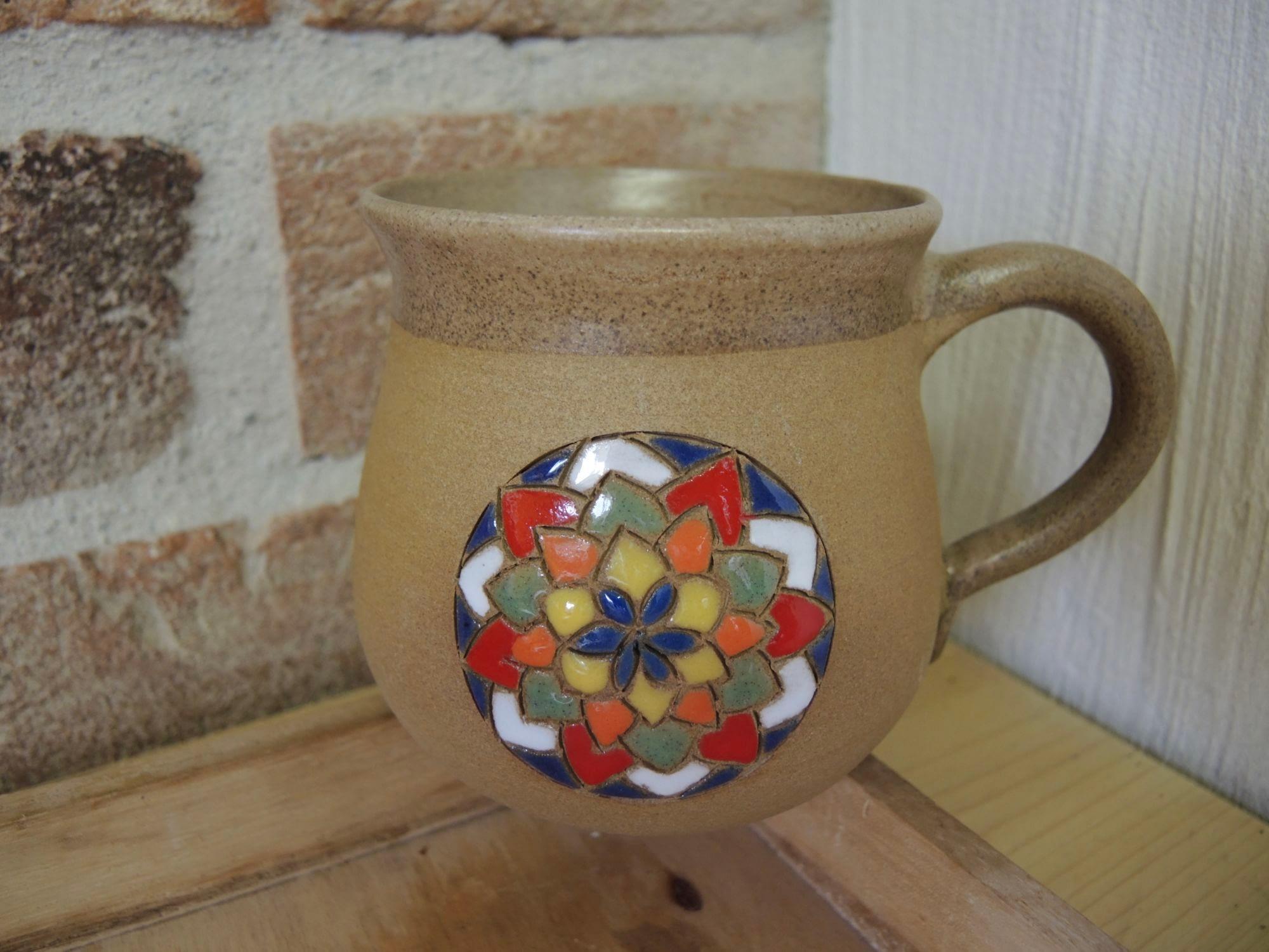 hrnek mandala na čaj velký keramika keramikaandee květ