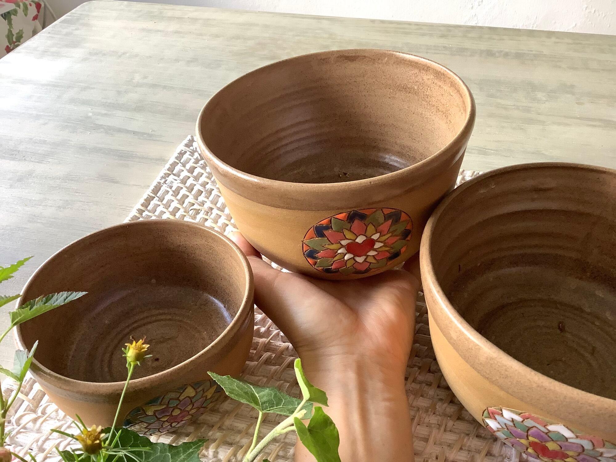 miska, mandala na dobroty na polévku srdce ornament ruční práce hrnčířský kruh spirála