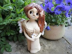 mini andělka jasmín květ křídla panenka dekorace keramika keramikaandee motýl