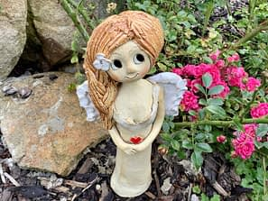 křídla panenka dekorace soška keramikaandee Keramická dekorace Srdce