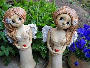 anděl andělka křídla jasmín socha figura dekorace květina keramika srdce keramikaandee