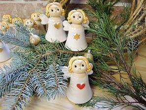 anděl andílek zvonek zvoneček k zavěšení dekorace srdce hvězda vánoce keramika keramikaandee