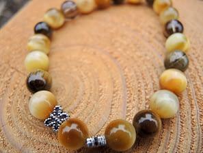 náramek polodrahokam kameny tygří oko záhněda čtyřlístek šperk