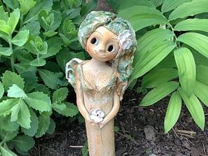 lesni víla květina anděl andělka srdce dekorace keramika andee socha