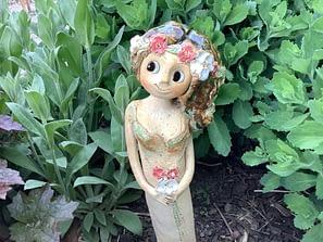 lesni víla květina strom keramika