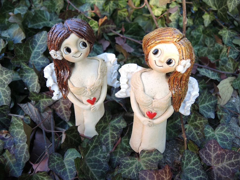 mini anděl andělka křídla panenka květina srdce keramika andee