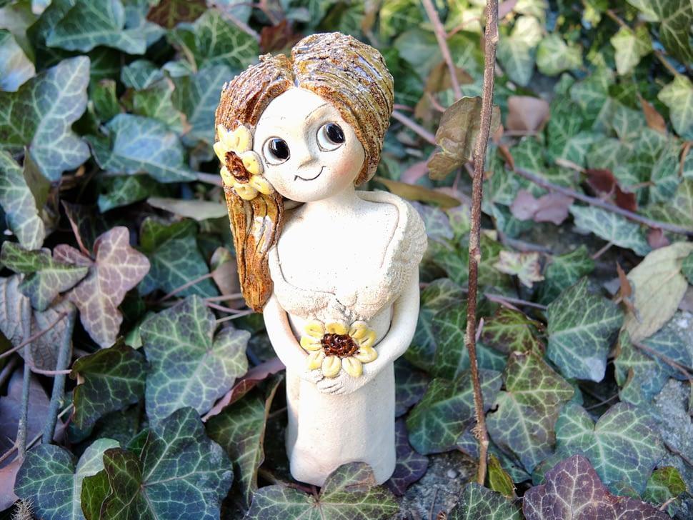 slunečnice víla květina figura keramika andee