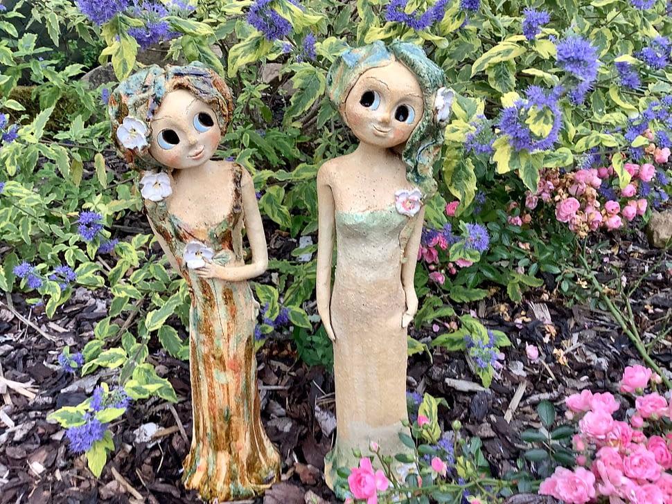 lesni víla květina strom keramika andee socha Ptáček
