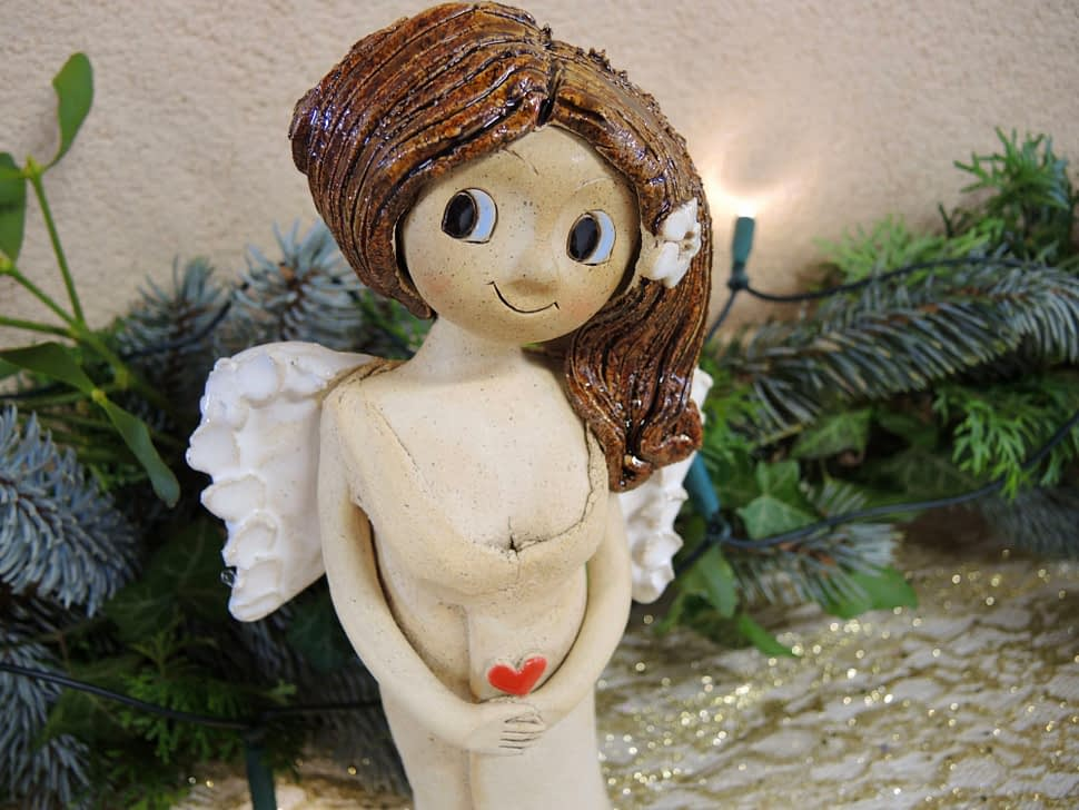 anděl andělka křídla panenka květina keramika andee srdce