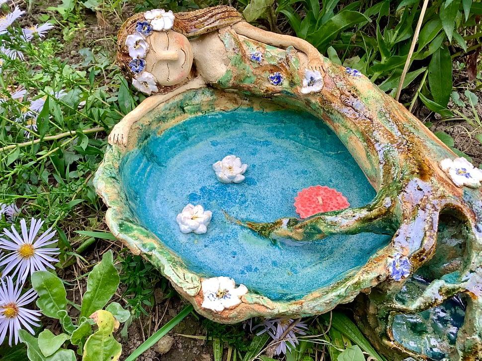 pítko víla lesní jezírko studánka Dekorace keramikaandee
