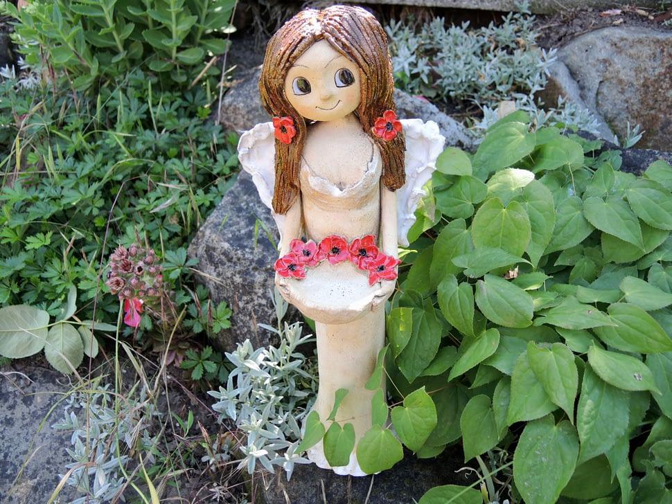 anděl andělka růže věneček křídla keramika figura keramikaandee srdce miska světlonoš