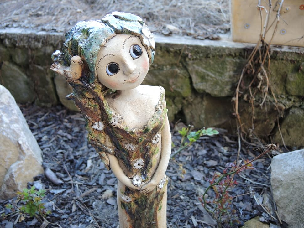 lesní víla stromová květy ptáček keramika andee