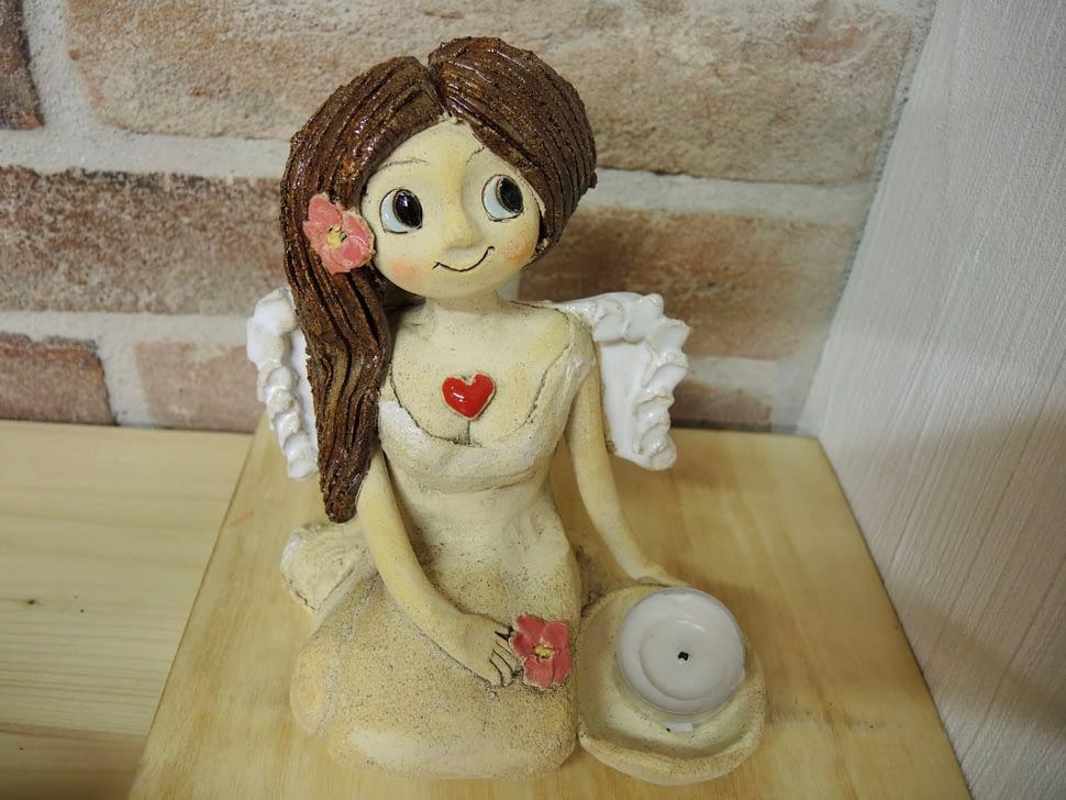 anděl andělka miska svícen srdce věneček křídla keramika figura keramikaandee