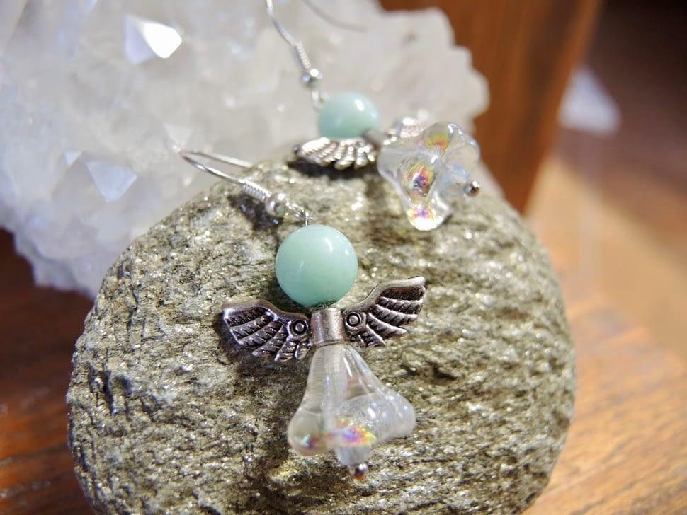 andělské náušnice anděl kameny šperky andee amazonit kameny polodrahokam