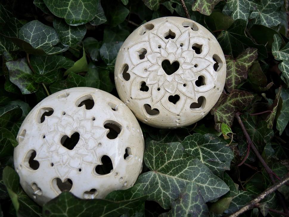 lampa lampička srdce mandala světlo svícen koule keramika andee dekorace