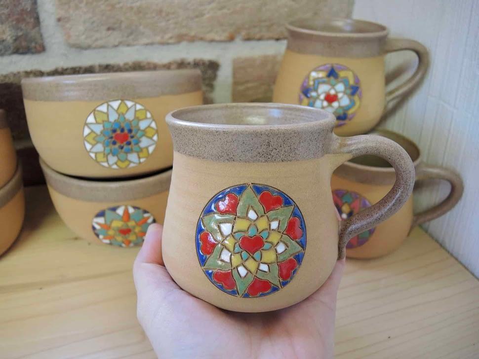 hrnek mandala načaj velký keramika keramikaandee srdce
