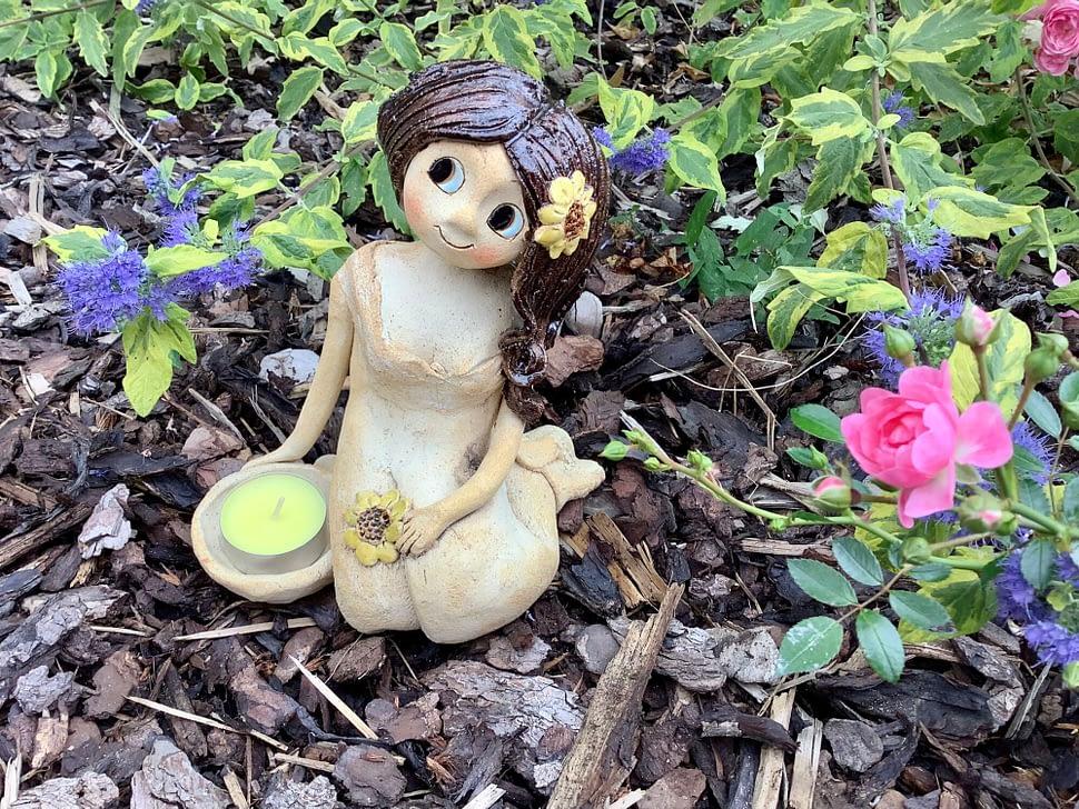 Klecici slunecnice vila dekorace figura keramika zahrada keramikaandee